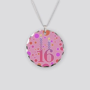 16th Birthday Candles Necklace Circle Charm