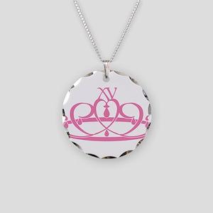 Quince Anos XV Tiara Necklace Circle Charm