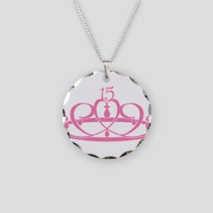 Quinceanera 15 Crown Necklace Circle Charm