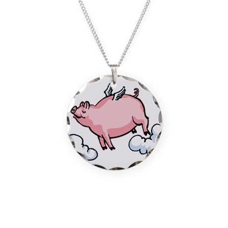 Flying Pig Necklace Circle Charm