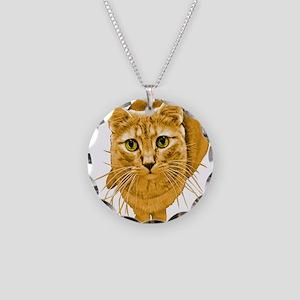 Orange Cat Necklace Circle Charm