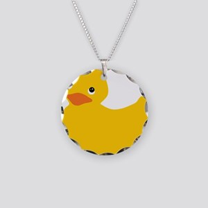 Yellow Duckie Necklace Circle Charm