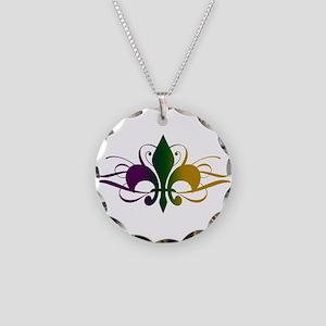 Purple Green Yellow Swirl Fle Necklace Circle Char