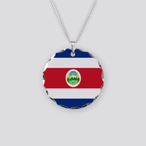 Costa Rica Flag Necklace Circle Charm