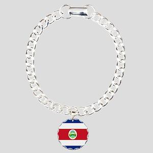 Costa Rica Flag Charm Bracelet, One Charm