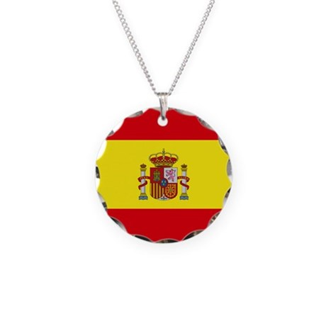 Spain Flag Necklace Circle Charm