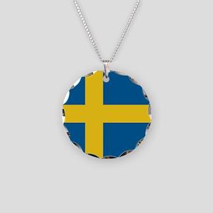 Sweden Flag Necklace Circle Charm