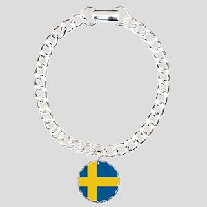 Sweden Flag Charm Bracelet, One Charm
