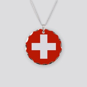 Switzerland Flag Necklace Circle Charm