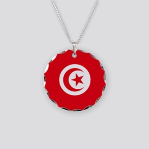 Tunisia Flag Necklace Circle Charm