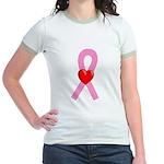 Pink Ribbon Heart Jr. Ringer T-Shirt