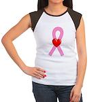 Pink Ribbon Heart Women's Cap Sleeve T-Shirt