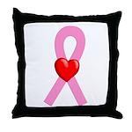 Pink Ribbon Heart Throw Pillow