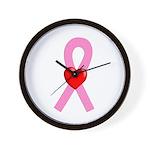 Pink Ribbon Heart Wall Clock