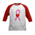 Pink Ribbon Heart Kids Baseball Jersey
