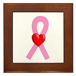 Pink Ribbon Heart Framed Tile