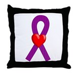 Purple Ribbon Heart Throw Pillow