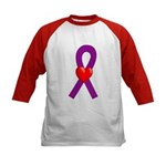 Purple Ribbon Heart Kids Baseball Jersey