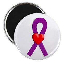 Purple Ribbon Heart Magnet