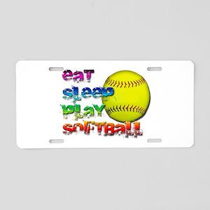 Eat sleep soft 2 Aluminum License Plate
