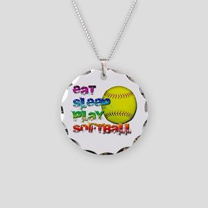 Eat sleep soft 2 Necklace Circle Charm