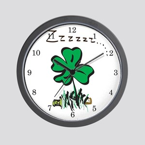 Snoring Leprechaun Wall Clock