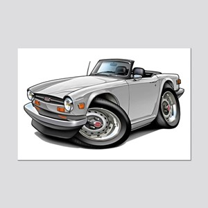 Triumph TR6 White Car Mini Poster Print