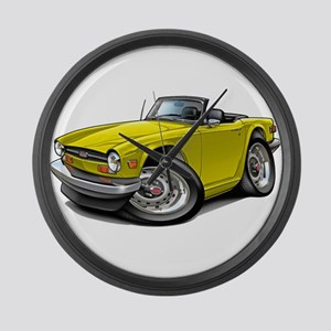 Triumph TR6 Yellow Car Large Wall Clock