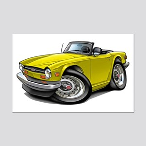Triumph TR6 Yellow Car Mini Poster Print