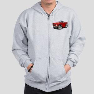 Triumph TR6 Red Car Zip Hoodie