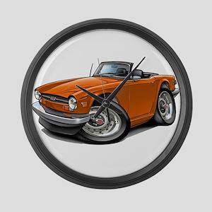 Triumph TR6 Orange Car Large Wall Clock