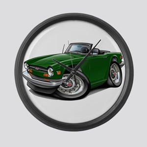 Triumph TR6 Green Car Large Wall Clock