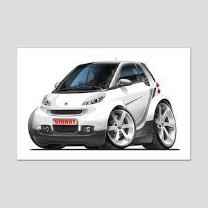 Smart White Car Mini Poster Print