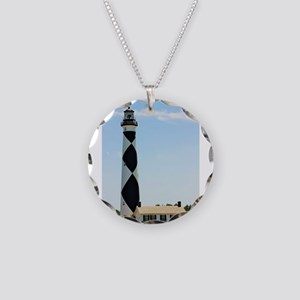 Cape Lookout Lighthouse Necklace Circle Charm