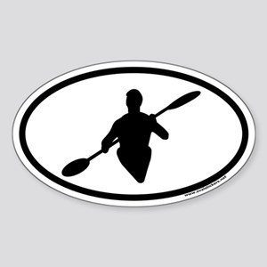 Kayaking Euro Oval Sticker with Kayaker Graphic