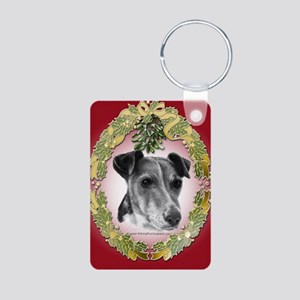 Fox Terrier Christmas Aluminum Photo Keychain