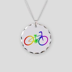 Biking Necklace Circle Charm
