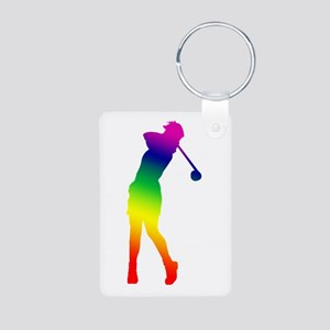 Golfer Aluminum Photo Keychain