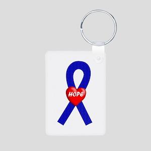 Blue Hope Aluminum Photo Keychain