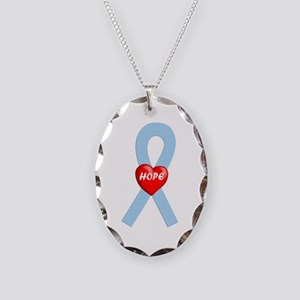 Lt. Blue Hope Necklace Oval Charm