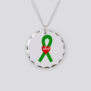 Green Hope Necklace Circle Charm