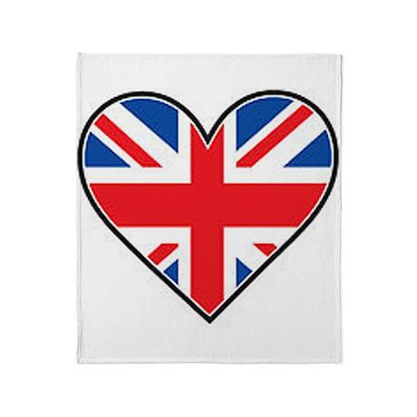 Union Jack Heart Flag Throw Blanket