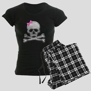 Chrome skull with bow 2 Women's Dark Pajamas
