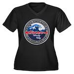 USS CHICAGO Women's Plus Size V-Neck Dark T-Shirt