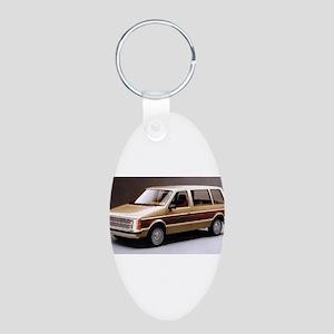 1984 Dodge Caravan Aluminum Oval Keychain