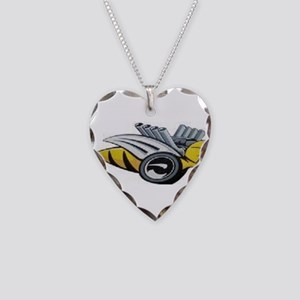 Neon Bee Necklace Heart Charm