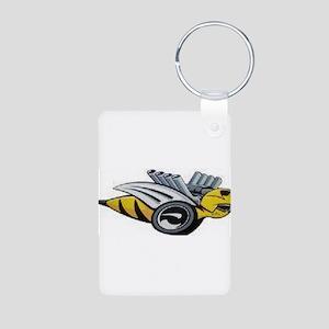 Neon Bee Aluminum Photo Keychain