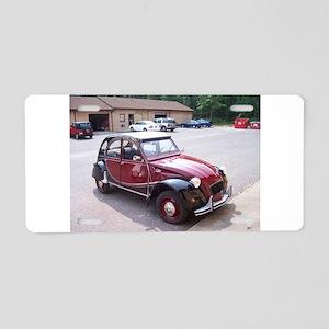 2CV Red Aluminum License Plate