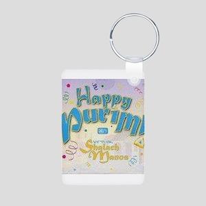 Happy Purim Aluminum Photo Keychain