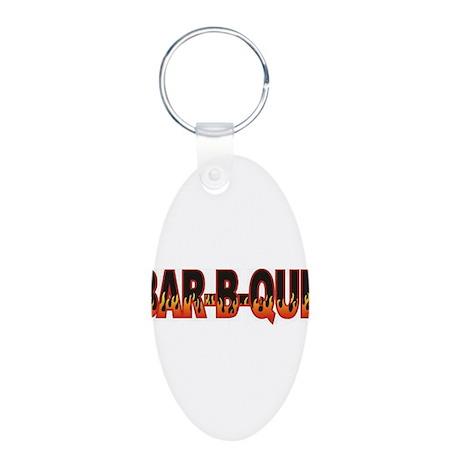 Bar b Que Aluminum Oval Keychain